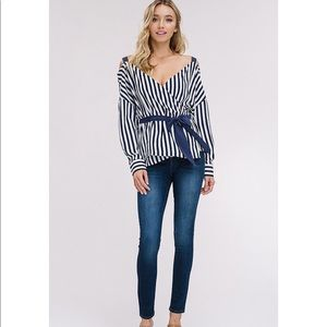 Navy Striped Cold Shoulder Wrap Style Top